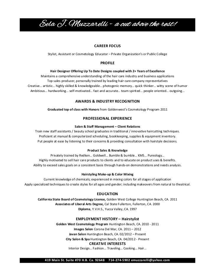 Eela Muzzarelli Cosmetology Resume