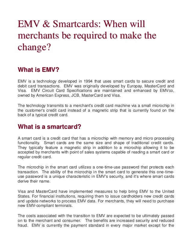 Emv and smartcards