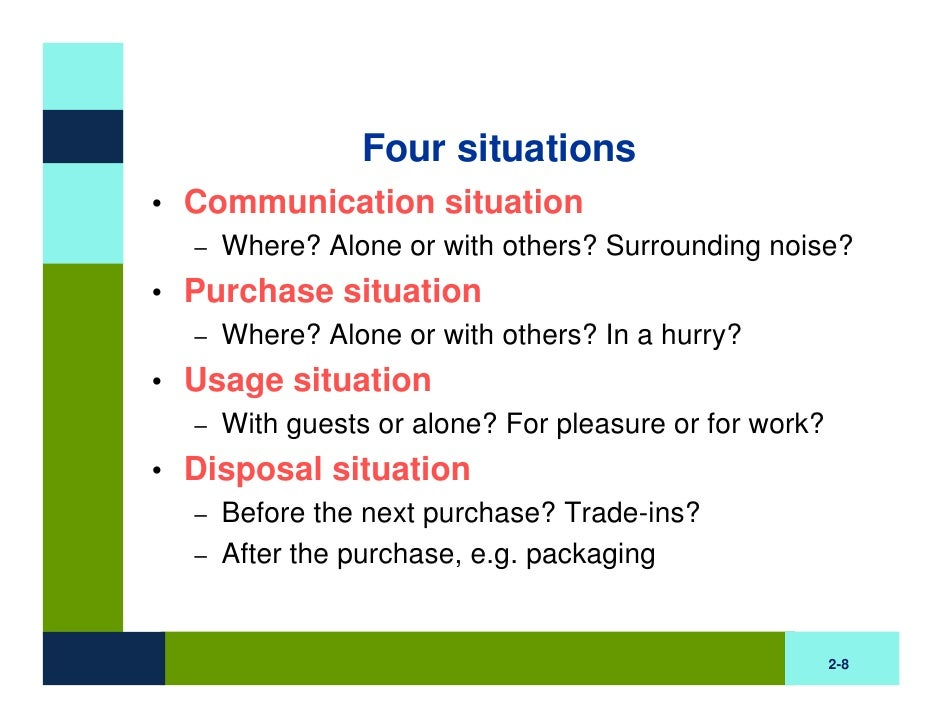 an analysis of the situational influences on purchasing behavior Situational factors, personal factors, and psychological factors influence what you buy, but only on a temporary basis societal factors are a bit different they are more outward and have broad influences on your beliefs and the way you do things.