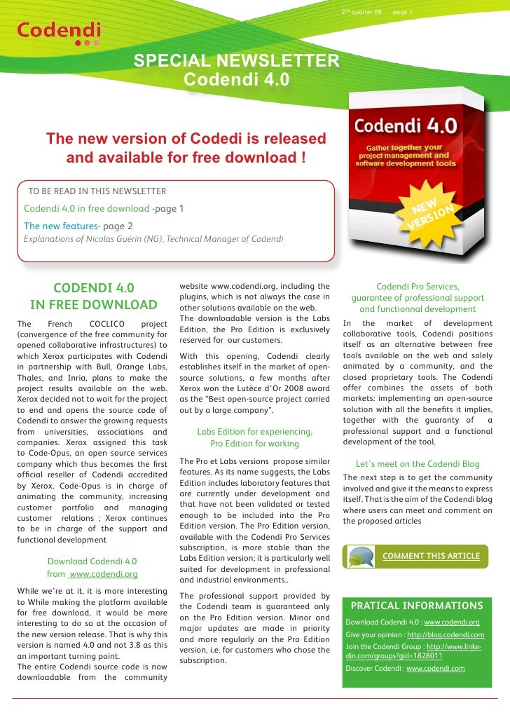 2nd quarter 09     page 1                                    SPECIAL NEWSLETTER                                    Codendi...