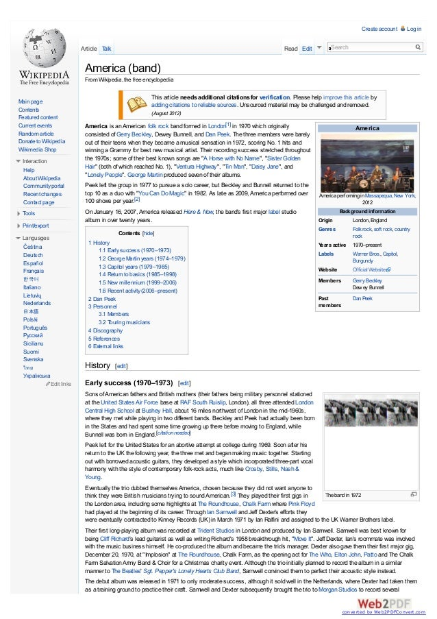 Create account  Article Talk  Read Edit  Log in  Search  America (band) From Wikipedia, the free encyclopedia  Main page C...