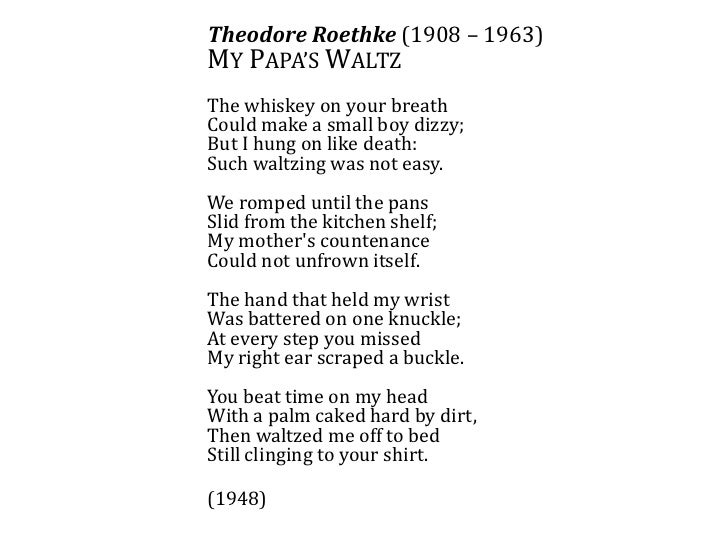 "a review of my papas waltz by theodore roethke ""my papa's waltz"" by theodore roethke in the essay should include 1) describing the topic 2) underline the thesis statement 3) what patters are you seeing or."