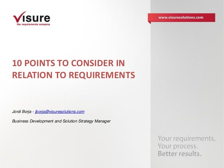 10 points to consider in relation to requirements - Visure Solutions