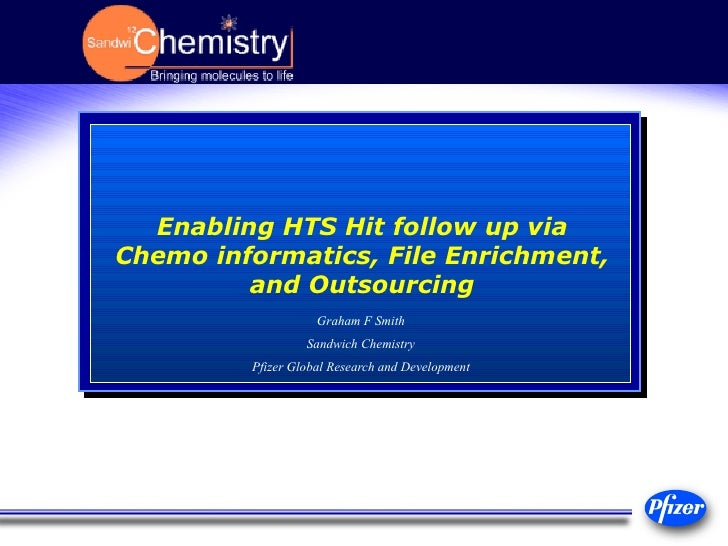 Enabling HTS Hit follow up via Chemo informatics, File Enrichment, and Outsourcing Graham F Smith Sandwich Chemistry Pfize...