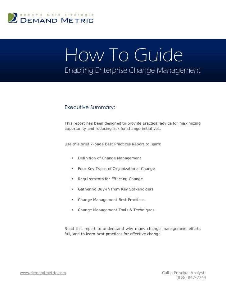 How To Guide                   Enabling Enterprise Change Management                   Executive Summary:                 ...