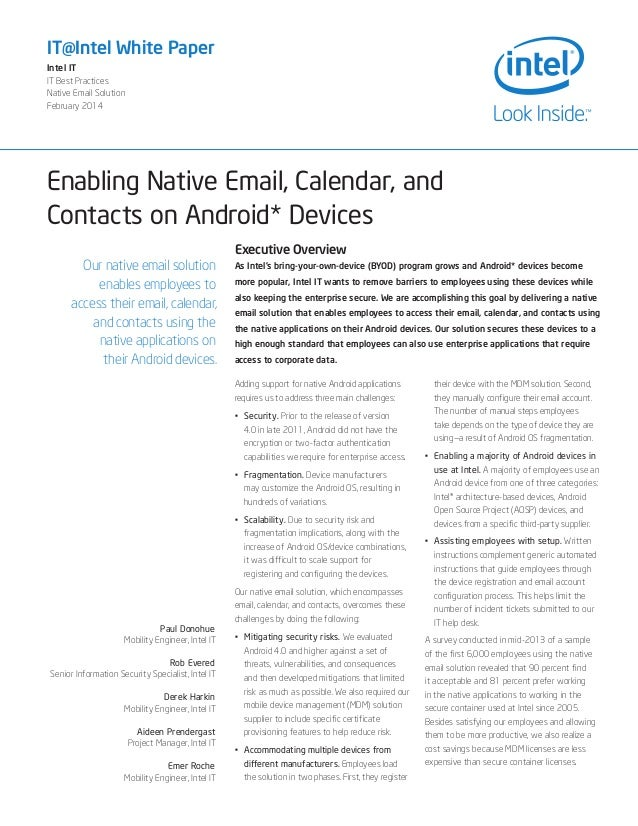 Enabling Native Email Calendar Contacts Android Devices
