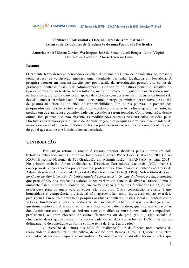 Formação Profissional e Ética no Curso de Administração:            Leituras de Estudantes de Graduação de uma Faculdade P...