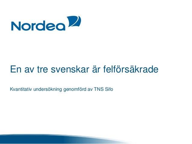 En av tre svenskar är felförsäkrade Kvantitativ undersökning genomförd av TNS Sifo