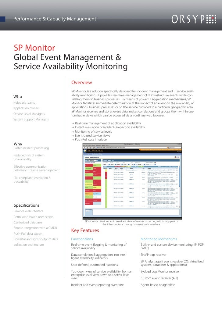 Performance & Capacity ManagementSP MonitorGlobal Event Management &Service Availability Monitoring                       ...