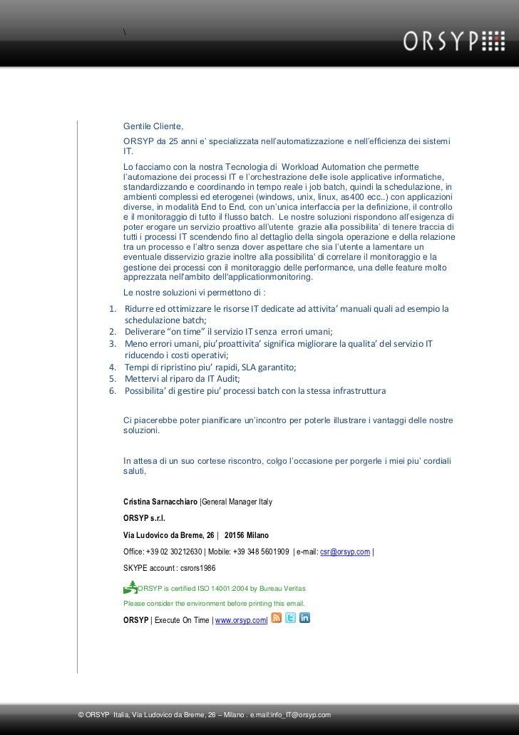 Lettera di Presentazione ORSYP