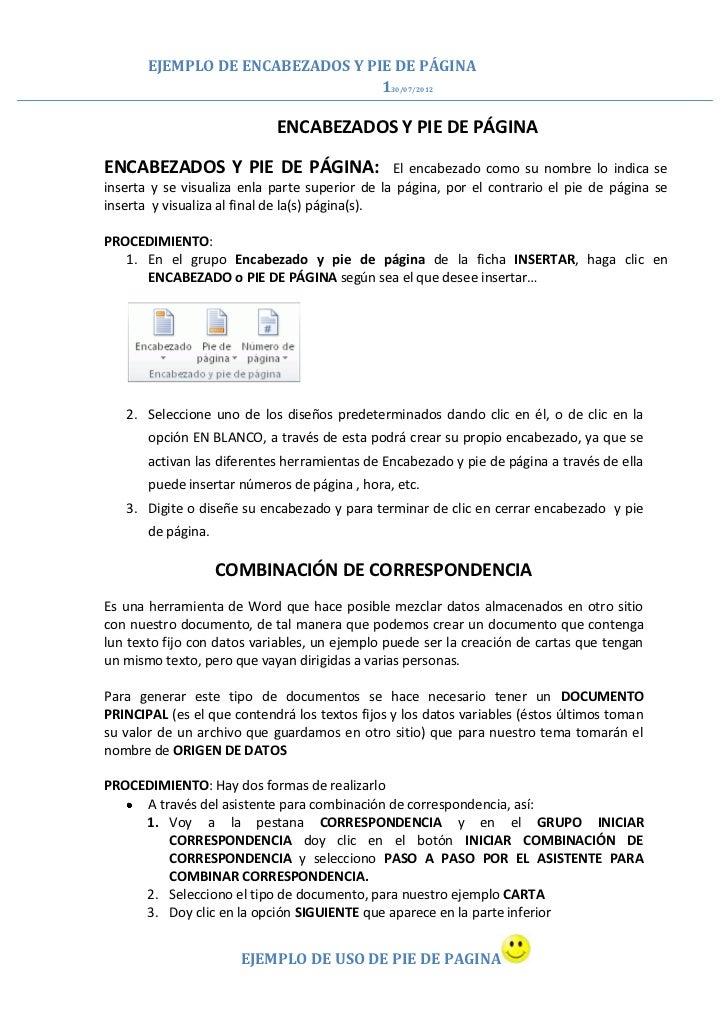 EJEMPLO DE ENCABEZADOS Y PIE DE PÁGINA                                  130/07/2012                            ENCABEZADOS...