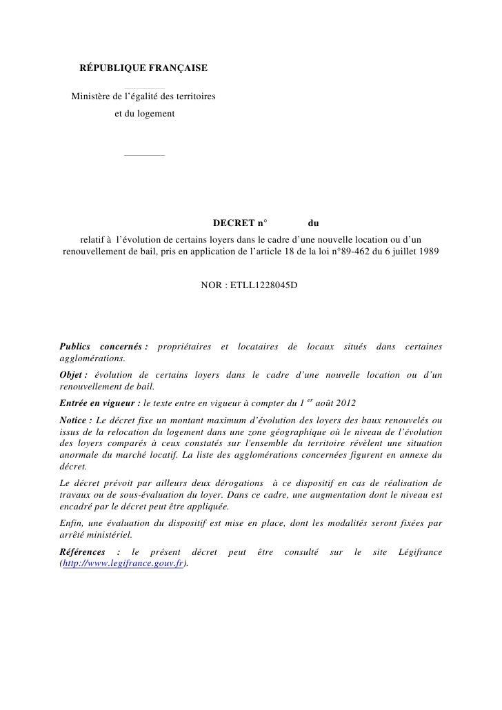 RÉPUBLIQUE FRANÇAISE  Ministère de l'égalité des territoires             et du logement                                   ...