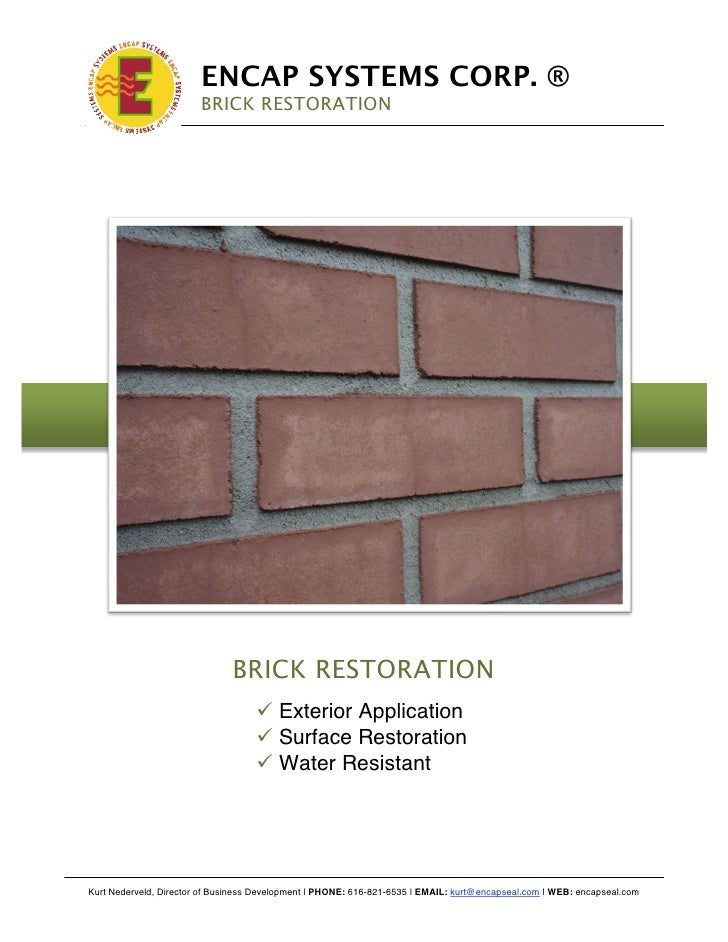 !                              ENCAP SYSTEMS CORP. ®                             BRICK RESTORATION                        ...