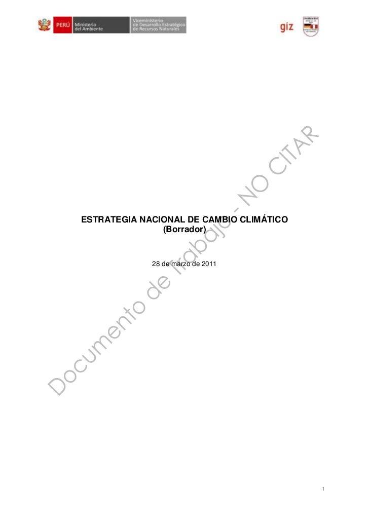 Estrategia Nacional de Cambio Climático - Documento en Consulta