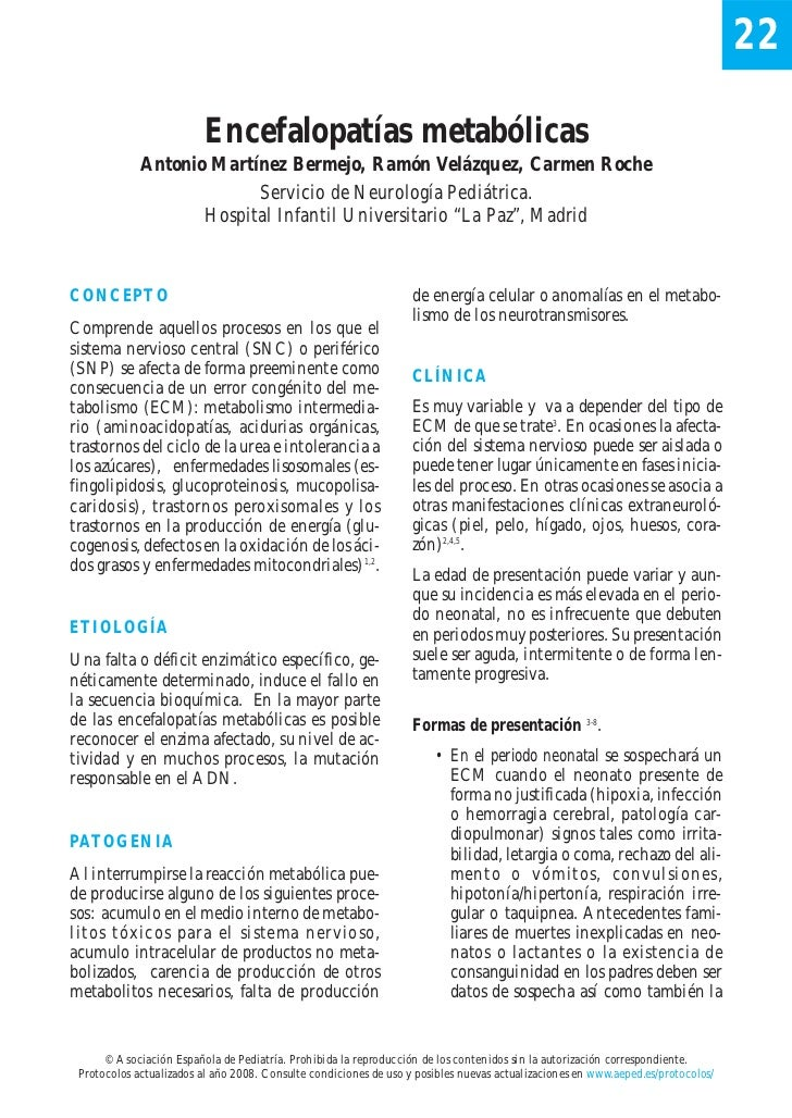 22                          Encefalopatías metabólicas             Antonio Martínez Bermejo, Ramón Velázquez, Carmen Roche...