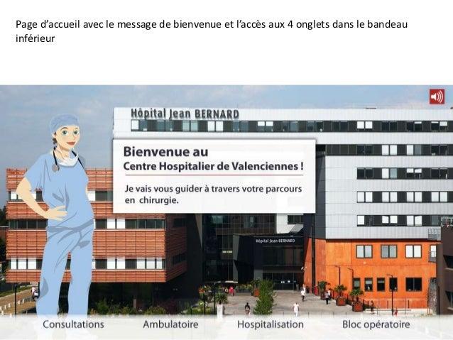 Page d'accueil avec le message de bienvenue et l'accès aux 4 onglets dans le bandeauinférieur