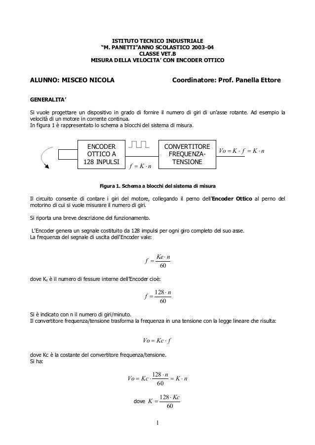 """ISTITUTO TECNICO INDUSTRIALE """"M. PANETTI""""ANNO SCOLASTICO 2003-04 CLASSE VET.B MISURA DELLA VELOCITA' CON ENCODER OTTICO  A..."""