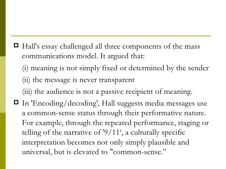 stuart hall encoding and decoding essay Stuart halls seminal paper: encoding/decoding page 2 encoding decoding theory essay hall, encoding is a crucial moment of entry constructed by 'material.