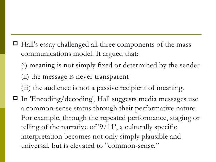 stuart hall encoding decoding essay definition