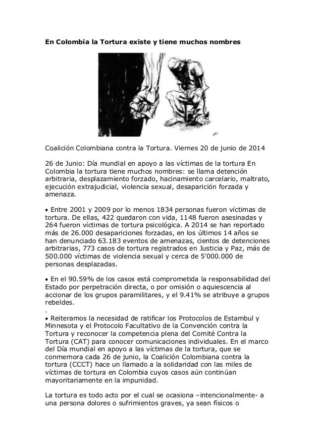 En Colombia la Tortura existe y tiene muchos nombres