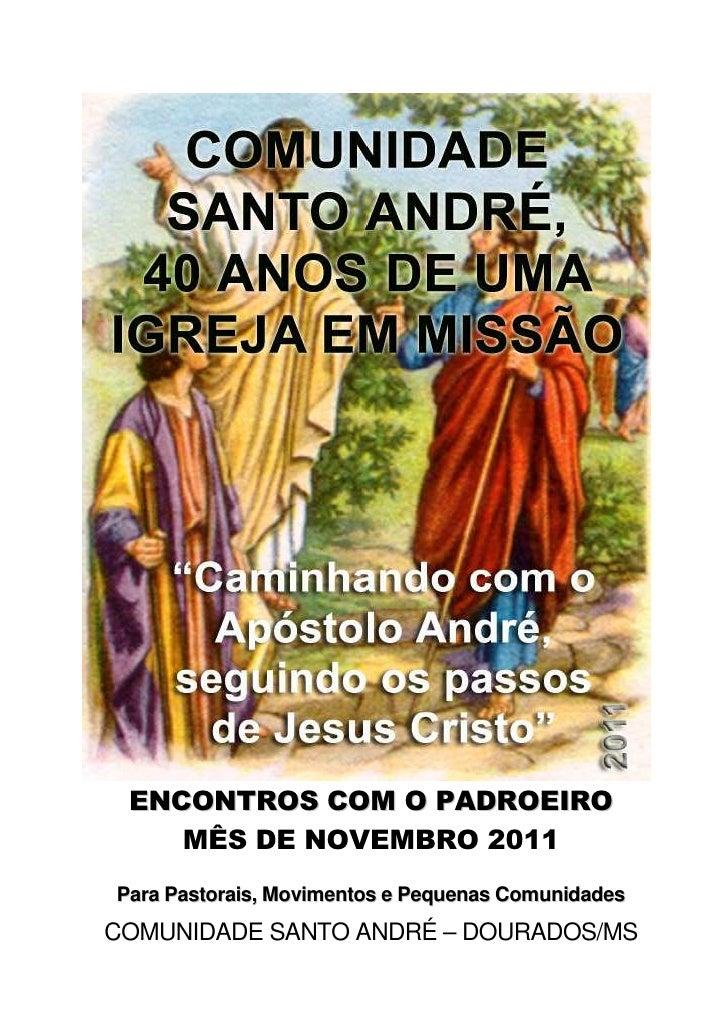 ENCONTROS COM O PADROEIRO    MÊS DE NOVEMBRO 2011Para Pastorais, Movimentos e Pequenas ComunidadesCOMUNIDADE SANTO ANDRÉ –...