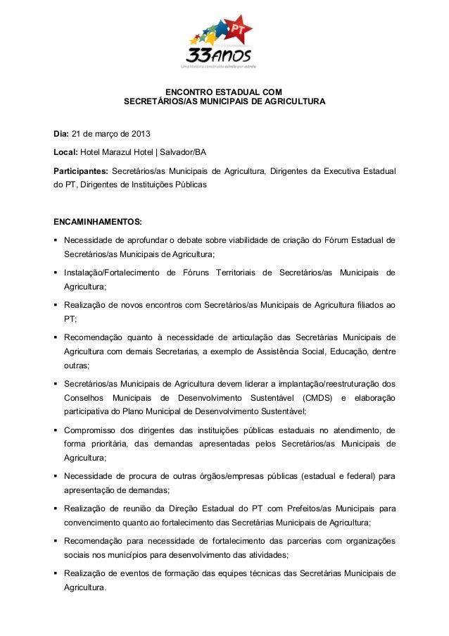 Resoluções Encontro Sec Municipais de Agricultura PT Ba  21.03.2012