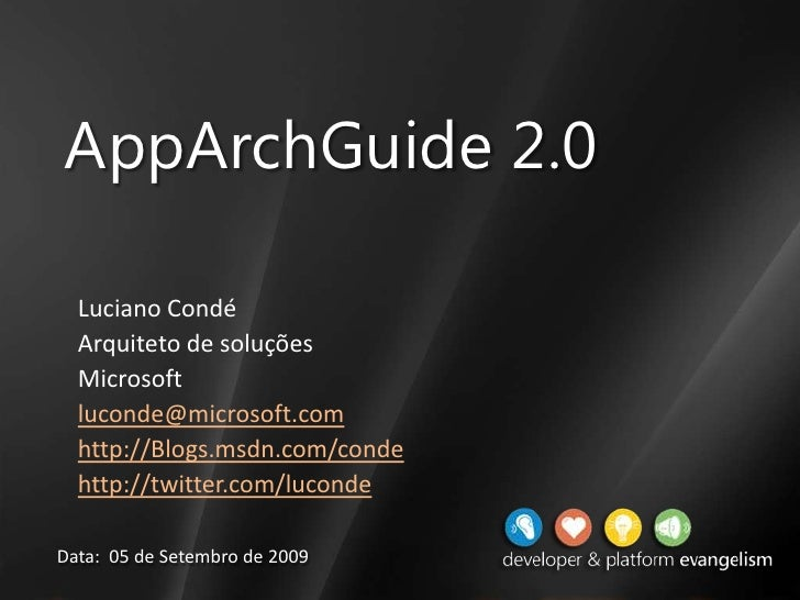 Encontro no .NET Architects - Application Architecture Guide (AppArchGuide)