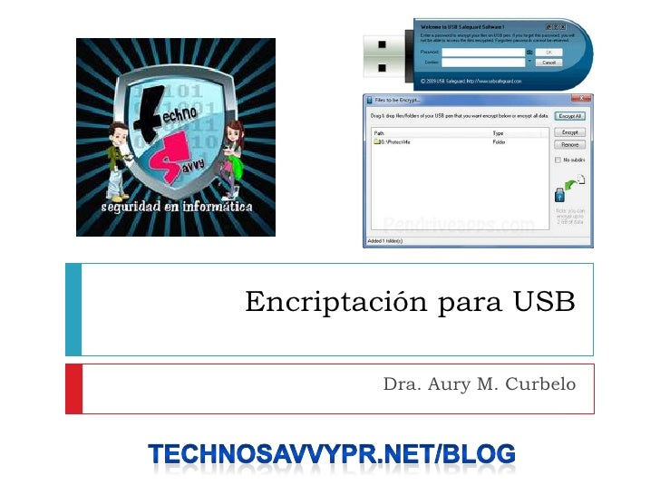 Encriptaciónpara USB<br />Dra. Aury M. Curbelo <br />Technosavvypr.net/blog <br />