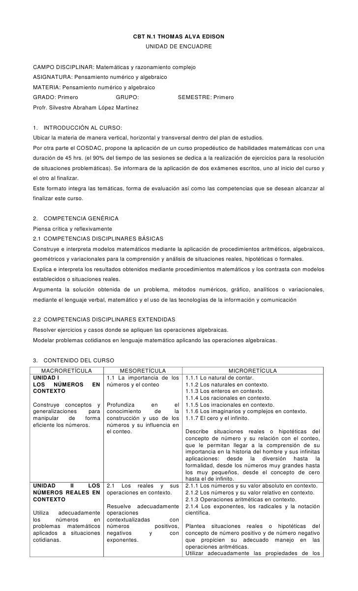 CBT N.1 THOMAS ALVA EDISON<br />UNIDAD DE ENCUADRE<br />CAMPO DISCIPLINAR: Matemáticas y razonamiento complejo<br />ASIGNA...