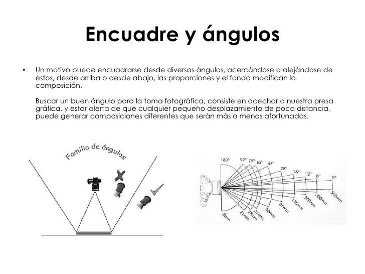 Encuadre y ángulos <ul><li>Un motivo puede encuadrarse desde diversos ángulos, acercándose o alejándose de éstos, desde ar...
