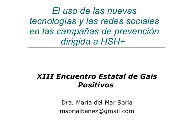 Uso de las redes sociales en campañas de prevención dirigidas a HSH+