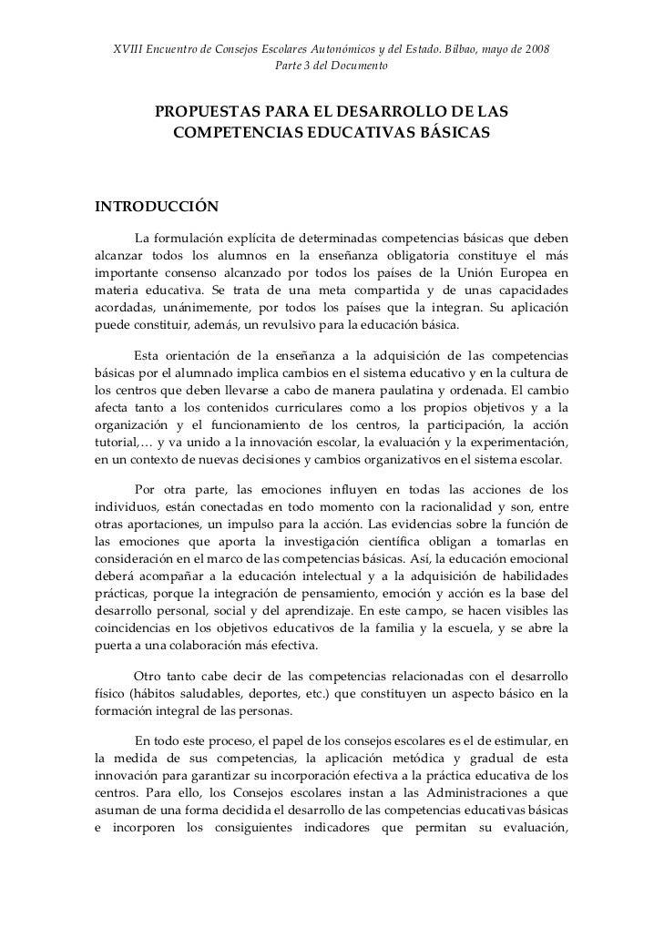 XVIIIEncuentrodeConsejosEscolaresAutonómicosydelEstado.Bilbao,mayode2008                                  Par...