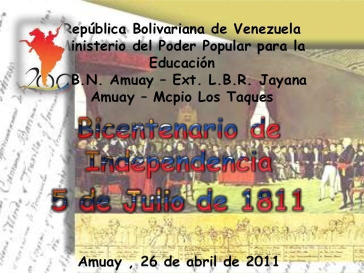 República Bolivariana de VenezuelaMinisterio del Poder Popular para la             EducaciónL.B.N. Amuay – Ext. L.B.R. Jay...