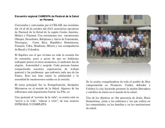 Encuentro regional camexpa de pastoral de la salud en panamá