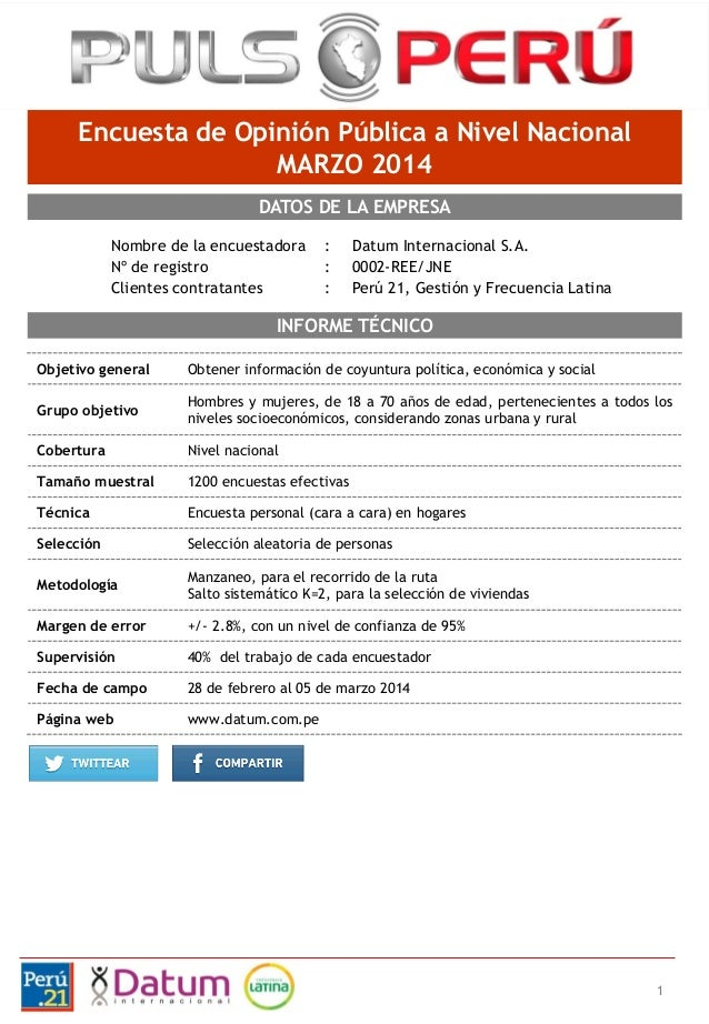 1 Nombre de la encuestadora : Datum Internacional S.A. Nº de registro : 0002-REE/JNE Clientes contratantes : Perú 21, Gest...