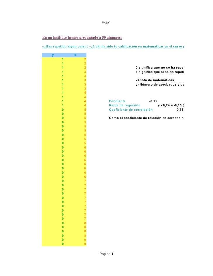 Hoja1En un instituto hemos preguntado a 50 alumnos:-¿Has repetido algún curso? -¿Cuál ha sido tu calificación en matemátic...