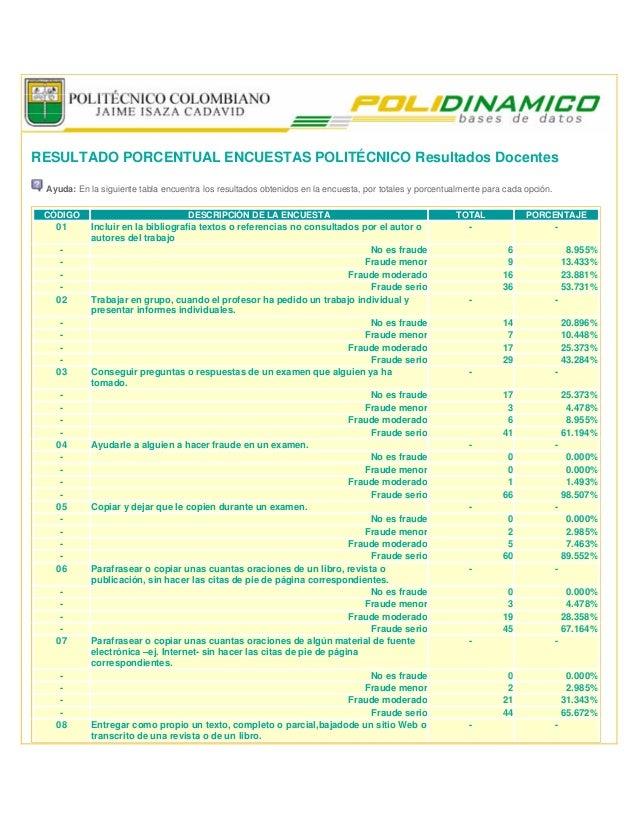 RESULTADO PORCENTUAL ENCUESTAS POLITÉCNICO Resultados Docentes Ayuda: En la siguiente tabla encuentra los resultados obten...