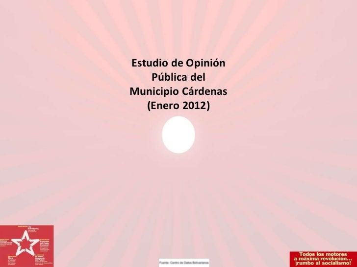 Estudio de Opinión Pública del Municipio Cárdenas (Enero 2012)