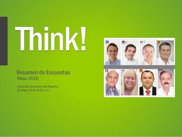 Think!Análisis Electoral de Encuestas.. El presente estudio fue patrocinado en su totalidad por Soluciones Think! Mercadot...