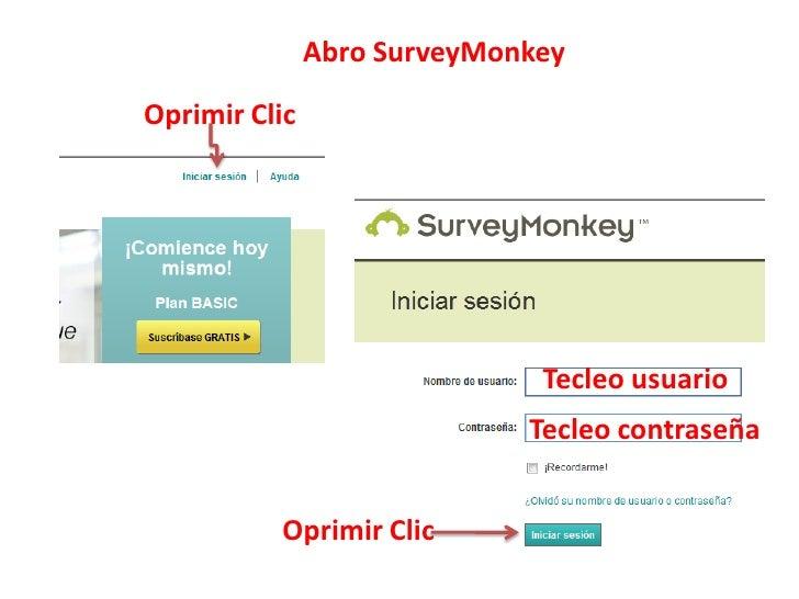 Abro SurveyMonkeyOprimir Clic                              Tecleo usuario                             Tecleo contraseña   ...