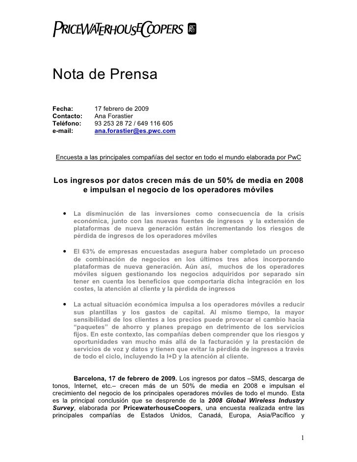 Nota de Prensa  Fecha:       17 febrero de 2009 Contacto:    Ana Forastier Teléfono:    93 253 28 72 / 649 116 605 e-mail:...