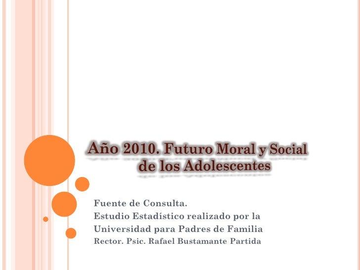 Fuente de Consulta. Estudio Estadístico realizado por la Universidad para Padres de Familia Rector. Psic. Rafael Bustamant...