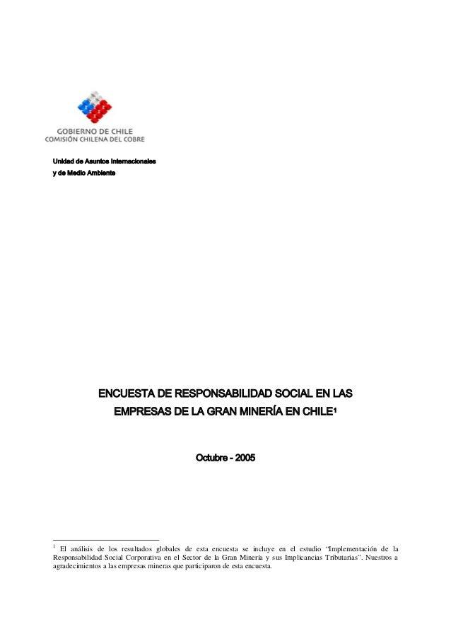 Unidad de Asuntos Internacionalesy de Medio Ambiente              ENCUESTA DE RESPONSABILIDAD SOCIAL EN LAS               ...