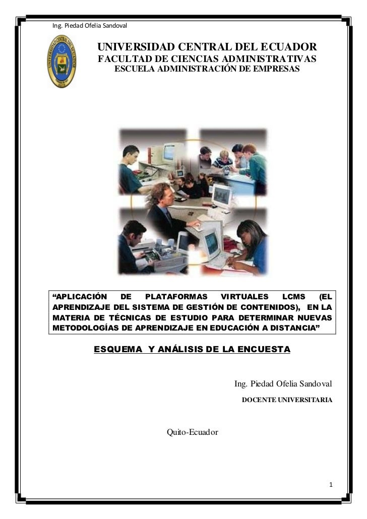 Ing. Piedad Ofelia Sandoval                UNIVERSIDAD CENTRAL DEL ECUADOR                FACULTAD DE CIENCIAS ADMINISTRAT...