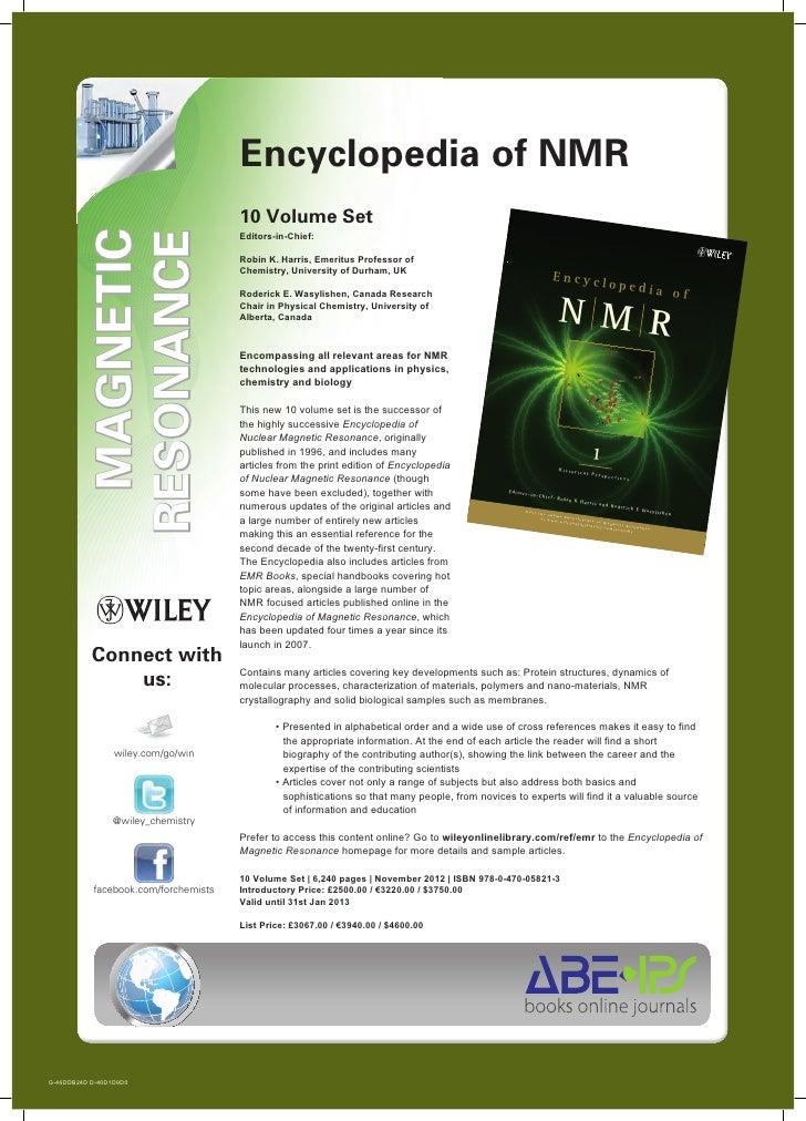 Encyclopedia of NMR                                      10 Volume Set            AGNETIC          ESONANCE          MAGNE...