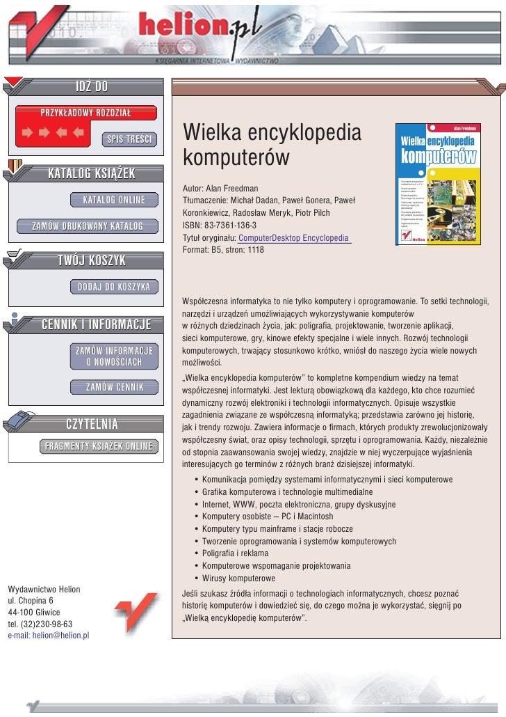 IDZ DO          PRZYK£ADOWY ROZDZIA£                             SPIS TRE CI   Wielka encyklopedia                        ...