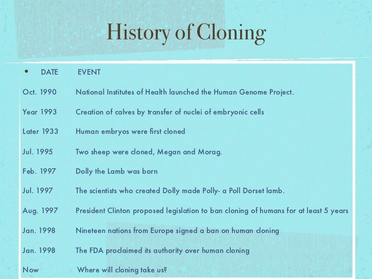 the history of cloning History of cloning - follow the major events in cloning through history and to the present learn the basic timeline of this technology.