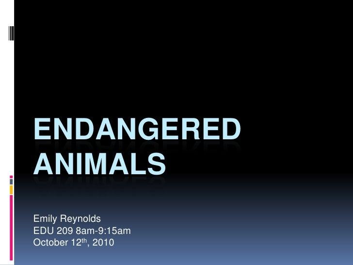 Endangered Animals<br />Emily Reynolds<br />EDU 209 8am-9:15am<br />October 12th, 2010<br />