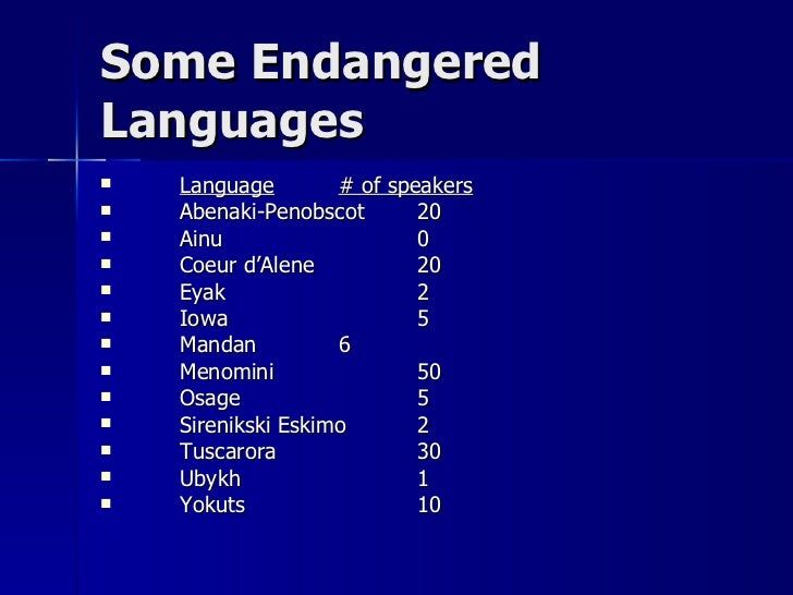disappearing languages Explorations - more than half of all languages in the world are in danger of disappearing by marilyn christiano broadcast: wednesday, october 26, 2005.