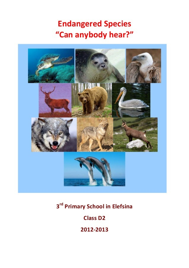 "Endangered Species  ""Can anybody hear?""     3rd Primary School in Elefsina  Class D2  2012‐2013"